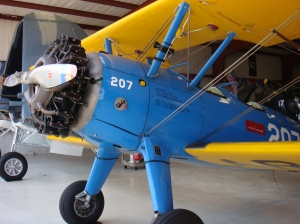 Awesome vintage blue and yellow plane