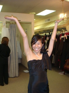 Can you tell she is super excited about her dress? lol