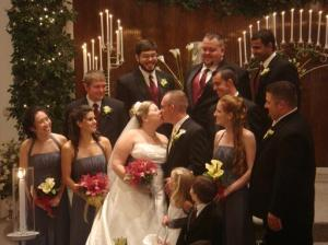 Of course, the requisite turtles on a log photo of the wedding party. Guess which one am I? Clue: the one in a poodle do'