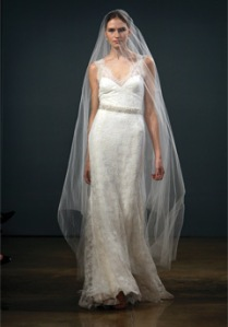 Catheral Veil on the runway of Monique Lhullier